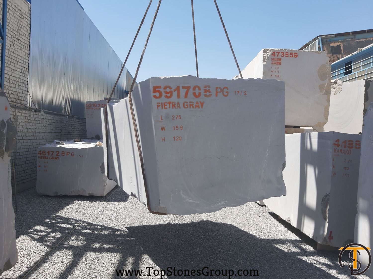 one of thousands of Pietra Grey Blocks Exported to China
